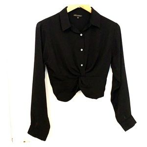 Cropped black button-up, semi-sheer, size smal